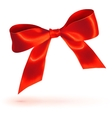 Red glossy bow on white background vector image