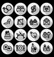 16 wedding icon set vector image vector image