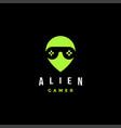 alien gamer head with joystick as glasseye logo vector image vector image