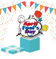 april fools day gift box flag bubble background ve vector image vector image