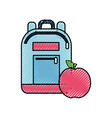 bag study tool with apple fruit vector image vector image