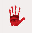 banner with a male eye on a red human palm vector image vector image