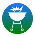 barbecue with fire sign white icon in vector image vector image