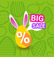 big sale on easter holiday greeting card poster vector image
