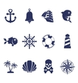 Blue marine symbols on white vector image