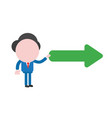 businessman character holding arrow pointing right vector image vector image