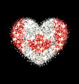 canada flag sparkling heart badge vector image
