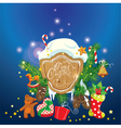 Card with xmas gifts and presents gingerbread cand vector image