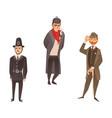 cartoon people in uk national costumes set vector image vector image