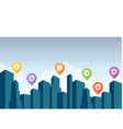 city skyline with pin icon vector image vector image