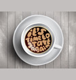 coffee cup with time lettering about it is vector image vector image