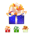 Color gift boxes with bows and ribbons vector image vector image