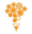 conceptual idea lightbulb composed by gear pieces vector image vector image