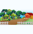 farm in nature scene with barn and little chicken vector image vector image