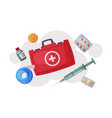 first aid kit with medications and emergency vector image vector image