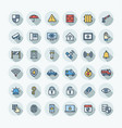 flat color thin line icons set vector image vector image