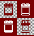 gas stove sign bordo and white icons and vector image