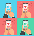 hands holding smatphone with gifts or valentines vector image vector image