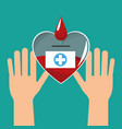 hands with heart blood healthy vector image vector image