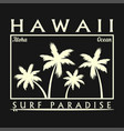 hawaii surfing typography for design t-shirt vector image vector image