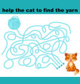 help the cat to find the yarn vector image