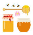 honey set cans honey spoon and bees flat vector image
