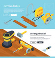 horizontal banners with electrical tools for vector image