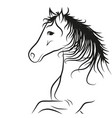 horse drawn outline in black coloring vector image vector image