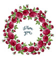 isolated wreath of red dahlia flowers and i love vector image