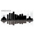 kinshasa city skyline black and white silhouette vector image vector image