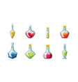 magic potion vials set glass flasks with red vector image vector image