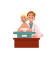 man doctor pediatrician baby sitting on scales vector image vector image