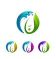 modern leaf and water drop abstract logo te vector image vector image