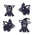 pigs silhouette little vector image vector image