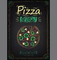 pizza menu on chalkboard vector image