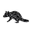 raccoon wildlife color silhouette animal vector image vector image