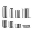 realistic metal tincans food and drink can vector image