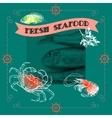 Seafood silhouette crab shrimp fish lemon vector image