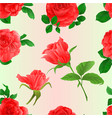 seamless texture roses pink twig with leaves vector image vector image
