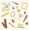 set icons for handmade hobby scissors thread vector image