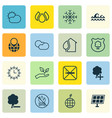 set of 16 eco icons includes pin earth save vector image vector image