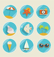 set of summer elements vector image vector image