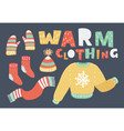 set of warm winter clothes design vector image