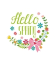 Spring seasonLettering Hello springflower wreath vector image