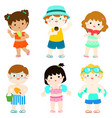 summer multicultural cute kids in swimsuit vector image