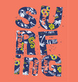 surfing lettering collage with pattern background vector image