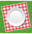 tablecloth and empty plate vector image vector image