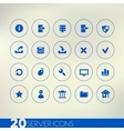 Thin simple server blue icons on light background vector image