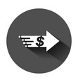 transfer money icon in flat style dollar on black vector image