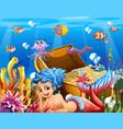 underwater scene with beautiful mermaid vector image